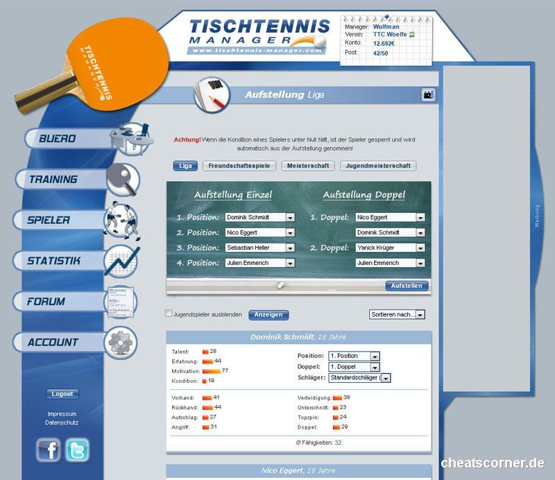 Tischtennis Manager Screenshot #1