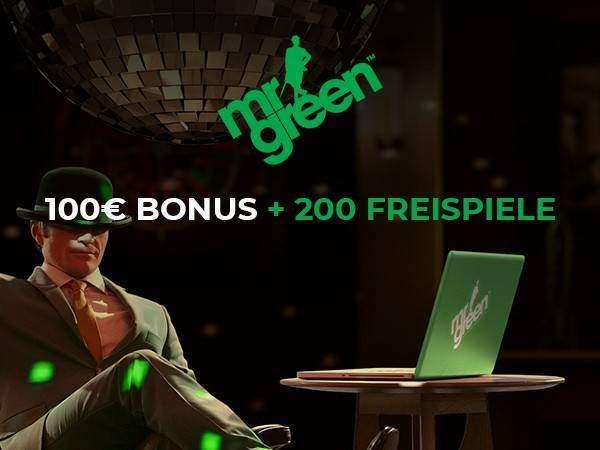 Mr Green bietet Neukunden Bonusgeld bis zu 100 Euro